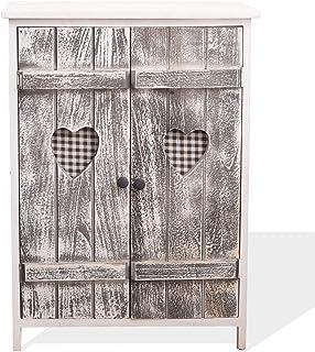 Rebecca Mobili Meuble de Rangement Armoire 2 Portes Bois Blanc Gris Shabby Chic Cuisine Salle de Bain Maison - 70 x 51 x 3...