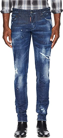 Dark Worked Vertical Slash Slim Jeans