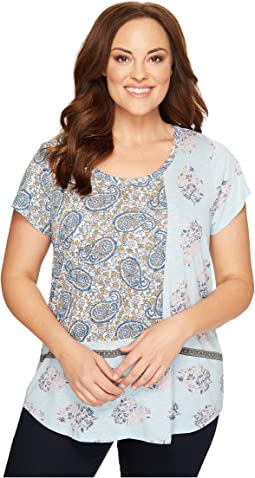 Lucky Brand - Plus Size Paisley Mixed Tee