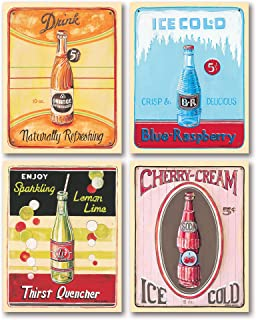 Classic 50's Era Vending Machine Ice Old Soda Sign Prints; Four 11x14 Posters