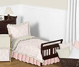 Sweet Jojo Designs 5-Piece Blush Pink White Damask and Gold Polka Dot Amelia Toddler Kids Childrens Girls Bedding Comforter Sheet Set