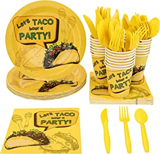 Blue Panda Mexican Taco Fiesta Party Pack Supplies for 24 Guests - Plates, Knives, Spoons, Forks, Napkins, and Cups
