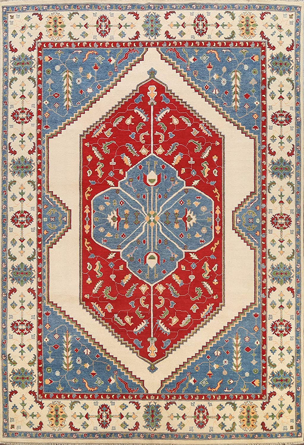 Floral Rapid rise sold out Vegetable Dye Kazak Oriental Rug C Wool Area Hand-Knotted