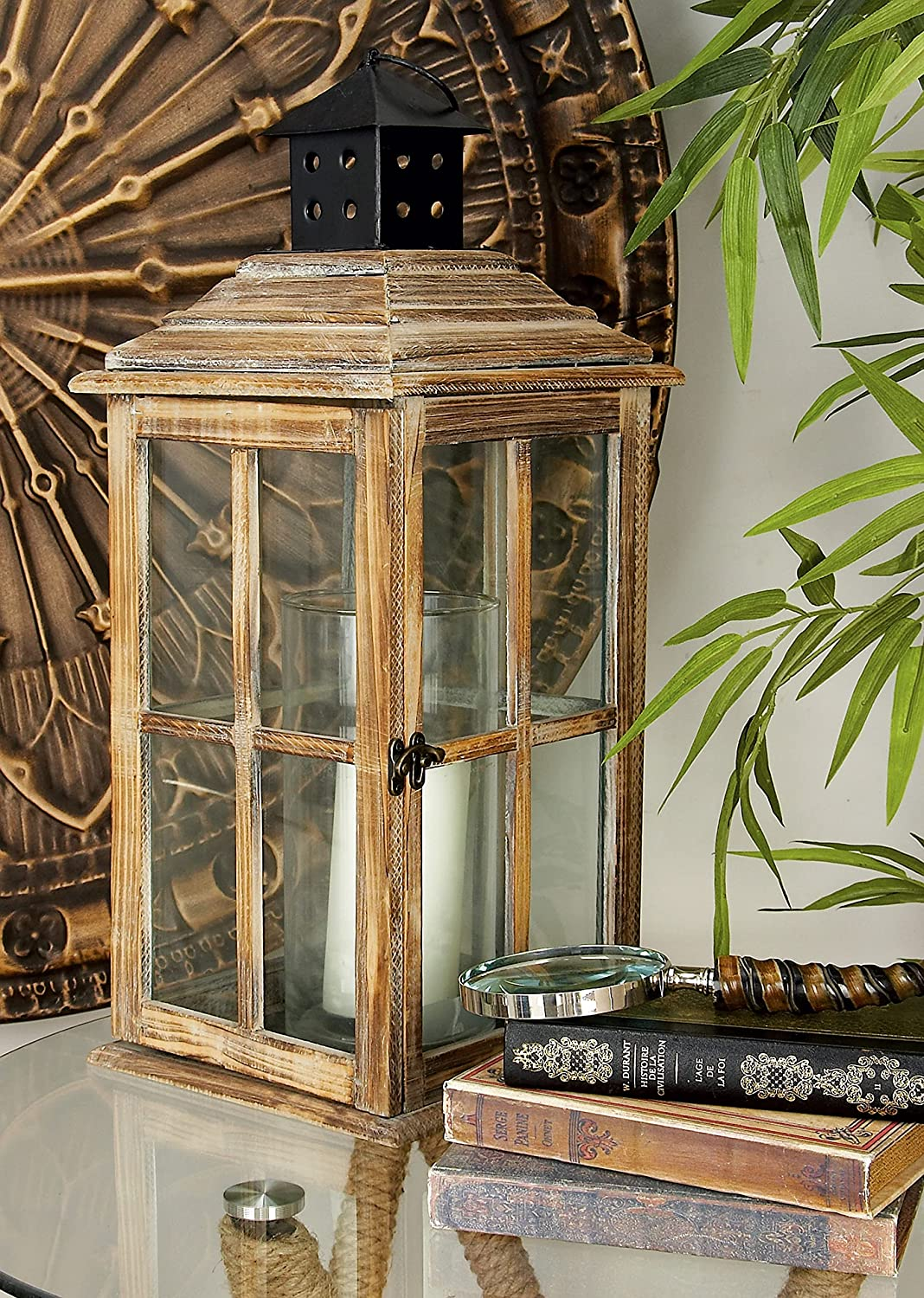 Deco 79 Wood supreme Candle Long Beach Mall Lantern 9-Inch 23 by