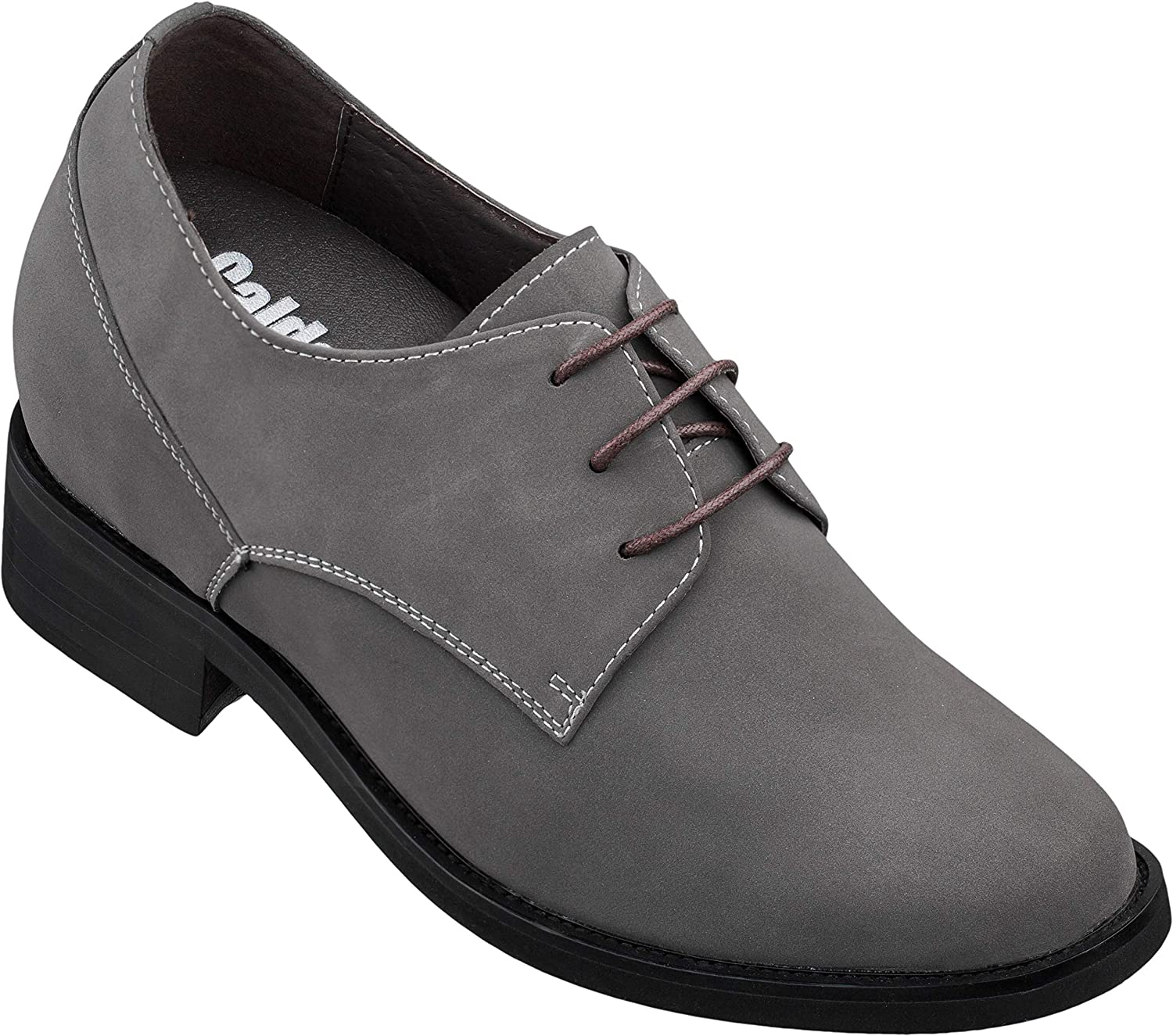 Calden Men's Invisible Height Increasing Elevator Shoes - Grey Suede Leather Lace-up Formal Oxfords - 4 Inches Taller - T5102