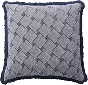 David's Home Boho Throw Pillow Cover-Linen Cotton Macrame Cushion Cover 18x18 Inches-Diamond Accent Pillow Case for Couch Sofa Living Room-Blue