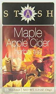 Stash Tea Maple Apple Cider 18 Count Teabags in Foil (Pack of 6) Individual Herbal Tea Bags for Use in Teapots Mugs or Cups, Brew Hot Tea or Iced Tea