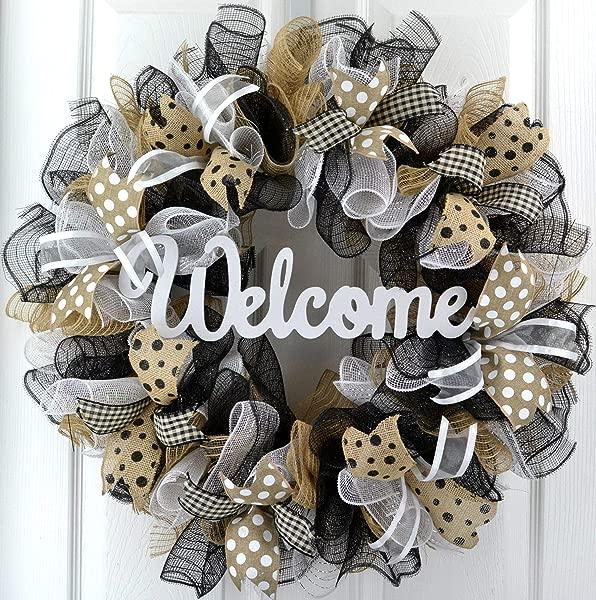 迎宾花环前门平时一年到头室外门口花环黑色黄麻麻布白色