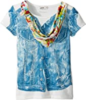 Junior Gaultier - Top with Denim Vest Print and Floral Bandana (Big Kids)