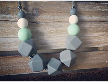 Baby Teething Necklace for Mom, Silicone Teething Necklace, BPA Free (Gray/Mint/White)