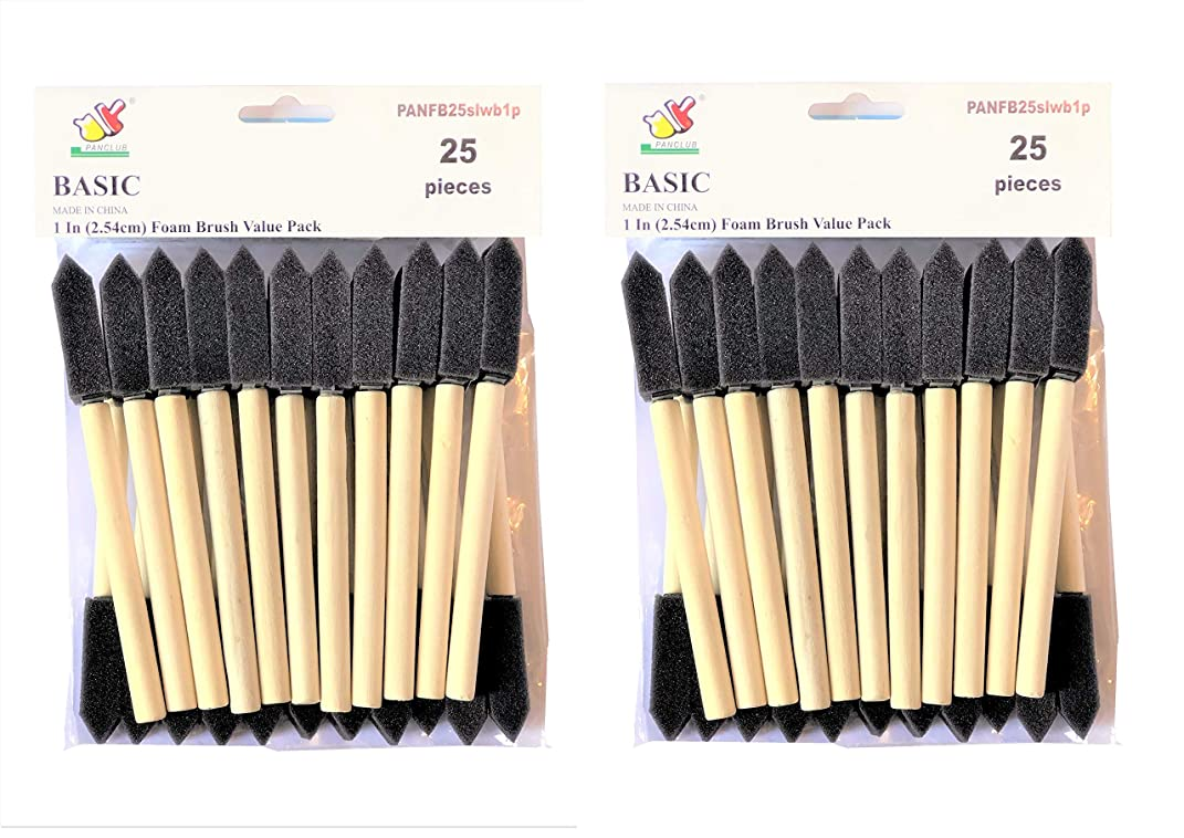 PANCLUB Foam Paint Brush Value Pack 1 Inch - 25 Per/Pack, 2 Packs, with Wood Handles, and Great for Art, Varnishes, Acrylics, Stains, Crafts