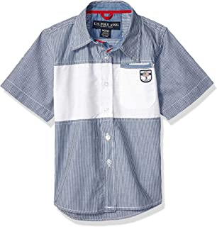 U.S. Polo Assn. Boys Short Sleeve Striped Fashion Woven Shirt Short Sleeve Button Down Shirt