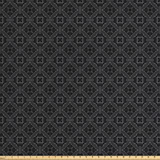 Ambesonne Dark Grey Fabric by The Yard, Baroque Venetian Flower Motifs Medieval Ornate Mosaic Gothic Design Elements, Decorative Fabric for Upholstery and Home Accents, 1 Yard, Grey and Black