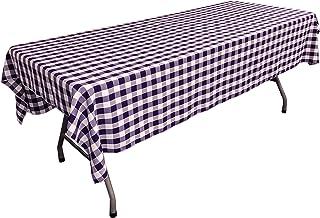 مفرش طاولة LA Linen مستطيل الشكل مقاس 152.4 سم × 274.4 سم، أرجواني وأبيض