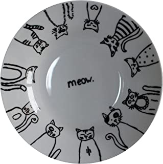 Leadex Porcelain 8-Inch Salad Plates,10.5-Inch Dinner Plate,18 Ounces Pasta Plates, Hand-drawn Cartoon Cat Pattern,Best Gift For Ailurophile (8-inch Rim Soup Bowl Set)