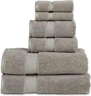 "800 GSM 6 Piece Towels Set, 100% Cotton, Premium Hotel & Spa Quality, Highly Absorbent, 2 Bath Towels 27"" x 54"", 2 Hand Towel 16"" x 28"" and 2 Wash Cloth 12"" x 12"". Grey Color"