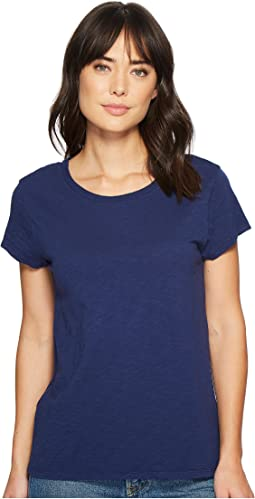 Dylan by True Grit Luxe Cotton Slub Short Sleeve Crew Tee with Back Detail Seam Stitch