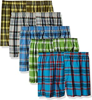 Fruit of the Loom Men's Big Plaid Woven Boxer - Colors May Vary, Assorted, XX-Large(Pack of 5)