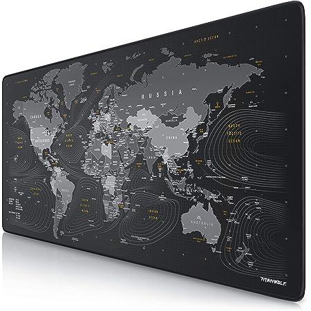 TITANWOLF - Tapis de Souris Gaming Global 900x400mm - sous-Main Bureau planisphère Gamer Extra Large XXL en Tissu, Base antidérapante - Carte du Monde - pour Tous Types de Souris et Claviers