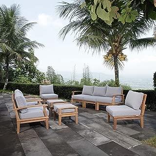 Modway EEI-1488-NAT-GRY-SET Marina Premium Grade A Teak Wood Outdoor Patio Furniture Set, 9 Piece, Natural Gray