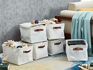 DECOMOMO Set of 6 | Foldable Storage Bin | Water Resistant Fabric Container with Handles | Canvas Great for Nursery, Close...