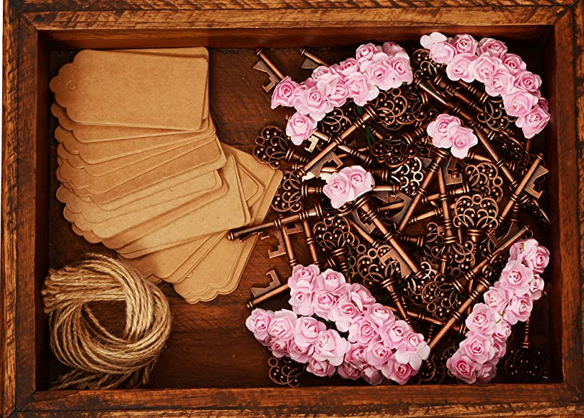 Wedding Favors for Guests - Wedding Favors Bottle Opener - Rustic Vintage Key Bottle Opener, with Escort Card Tag, Roses and Twine 50 Pcs (Pink)