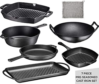 Pre Seasoned Cast Iron 7 Piece Bundle Gift Set, Multi Cooker, Rectangular grill Pan, Wok, Skillet, Square Grill Pan & Chainma