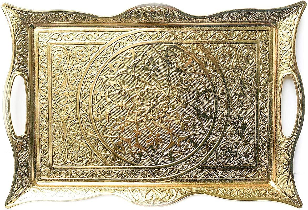 Turkish Ottoman Coffee Tea Beverage Serving Square Tray Gold