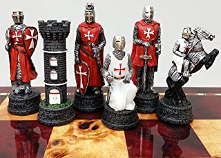 Medieval Times Crusades Knight RED & WHITE Set of Chess Men Pieces Hand Painted W/ Maltese Cross by HPL
