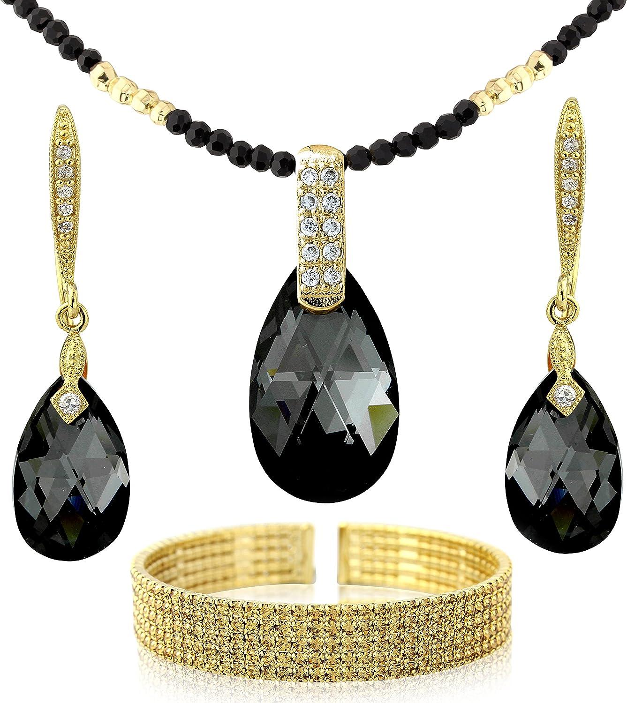 Black Crystal Chain El Paso Mall and Gold Tone Ne Jewelry - Drops Under blast sales Set