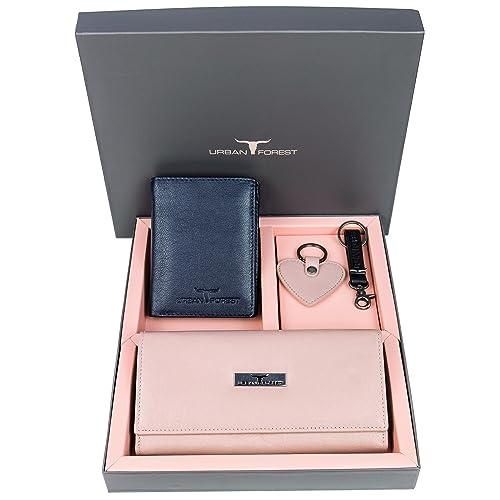 Urban Forest Spencer Leather Blue/Du Rose Wallet Combo Gift Set For Men And Women