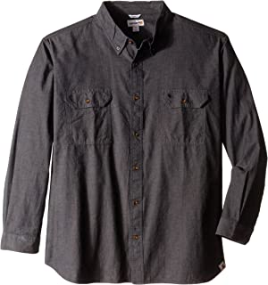 Men's Long-Sleeve Lightweight Chambray Button-Front Relaxed-Fit Shirt S202