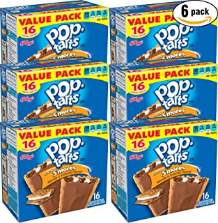 Kellogg's Pop Tarts Frosted S'mores Value Pack 16 Toaster Pastries, 29.3oz Box (Pack of 6, Total of 175.8 Oz)