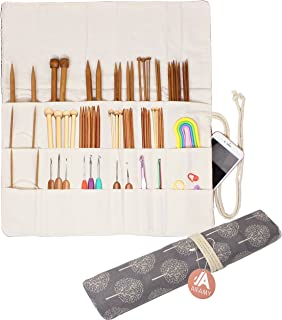 Knitting Needles Holder Case Rolling Organizer for Crochet Hooks Accessories, Mother's Day Gift (Gray Tree)