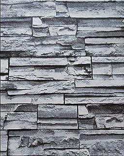 [Isdy] 壁紙 シール リメイク シート リフォーム ウォール ステッカー カッティング 剥がせる 石 レンガ (10m×45cm 青グレー・ ストーン 柄)