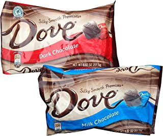 Dove Chocolate Promises, 1 Milk Chocolate and 1 Dark Chocolate, 8.87 Ounce Bags (2 Pack)