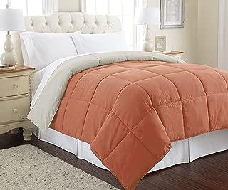 Amrapur Overseas Goose Down Alternative Microfiber Quilted Reversible Comforter / Duvet Insert - Ultra Soft Hypoallergenic Bedding - Medium Warmth for All Seasons - [King, Orange Rust/Oatmeal]