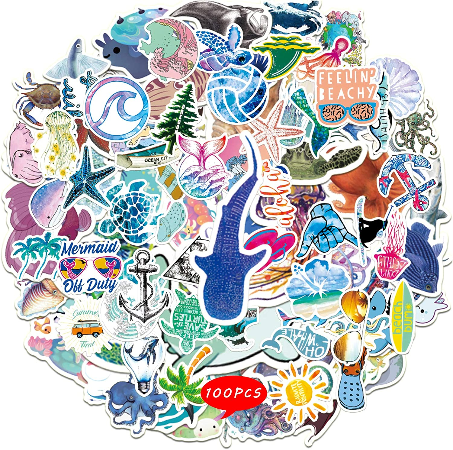 100PCS Ocean Stickers Beach Themed Decals for Kids Cute Sea Animal Art Work for Water Bottles Case Cup Scrapbooking