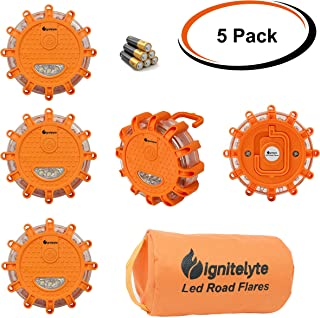 LED Road Flare Emergency Disc with Storage Bag and Batteries Included - 9 Light Modes Plus Hook and Magnet - Flashing Safety Beacon for Car or Boat - SOS Signal for Camping or Hiking (Pack of 5)