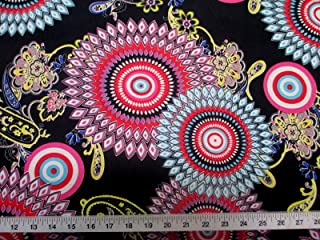 Discount Fabric Printed Lycra Spandex Stretch Abstract Sunflower Pink, Yellow & Turquoise D401