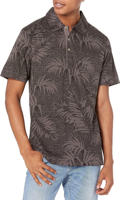 Cubavera Men's Standard Palm Print Short Sleeve Polo Shirt