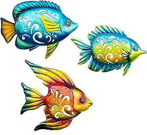 BVLFOOK Coastal Wall Décor, Ocean Sea Metal Fish Wall Décor, Hanging Wall Art Decoration for Indoor Outdoor, Beach Nautical Tropical Fish Wall Sculpture for Pool Bathroom Bedroom Patio