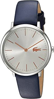 Lacoste Women's 'MOON' Quartz Stainless Steel and Leather Casual Watch, Color:Blue (Model: 2000986)