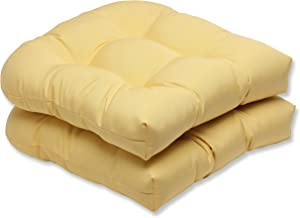 Pillow Perfect Indoor/Outdoor Wicker Seat Cushion with Sunbrella Canvas Buttercup Fabric, Set of 2, Yellow