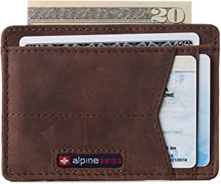 Alpine Swiss Men's RFID Minimalist Oliver Front Pocket Wallet Leather York Collection