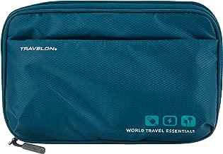 Travelon World Travel Essentials Tech Organizer, Peacock Teal