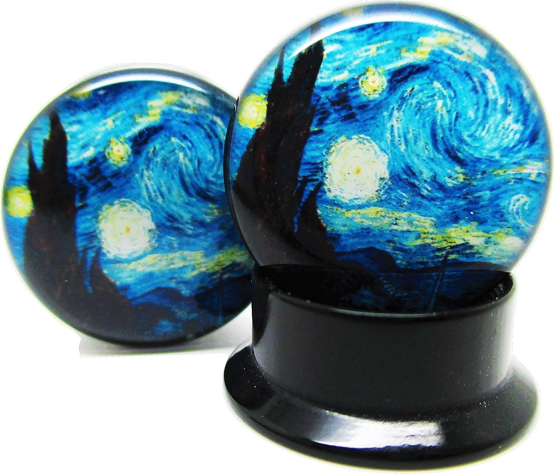 Pair New Acrylic Screw-On Pierced Republic A Starry Night Ear Plugs 14 Sizes