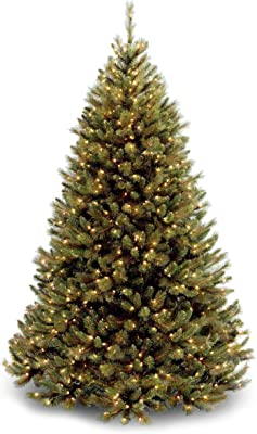 National Tree 7.5 Foot Rocky Ridge Pine Tree with 750 Clear Lights, Hinged (RRMH1-75LO)