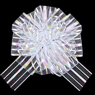 """Zoe Deco Pull Bows for Gifts (Organza White, Set of 10), 6"""" / 15cm Pull-String Bows for Presents, Ribbon-Pull Bows, Gift W..."""
