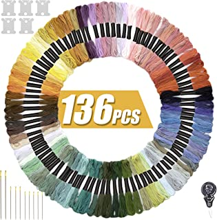 STOCKYFY Embroidery Thread Rainbow Color Embroidery Floss 120 Skeins & Accessories Per Pack Friendship Bracelets Cross Stitch Threads & Craft Floss